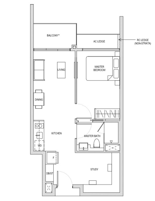 Affinity At Seragoon 1-Bedroom Study AS2