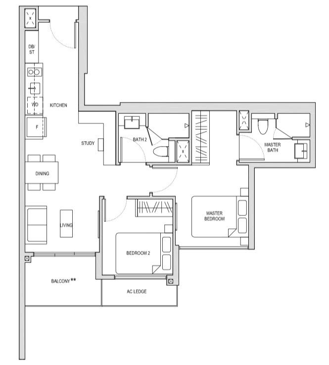 Affinity At Seragoon 2-Bedroom Premium Study BPS1